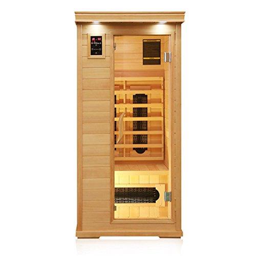 TroniTechnik Infrarotsauna Infrarotkabine Sauna Keramikstrahler Karbon Bodenstrahler 90cm x 90cm x 190cm