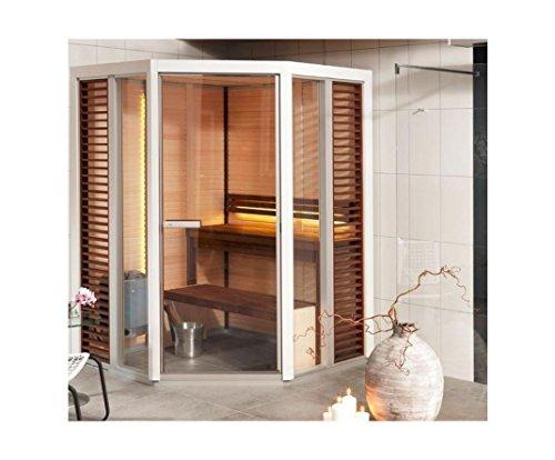Tylö Impression Sauna mit Eckeinstieg mit Saunaofen, LED Farblicht und Montage ohne LED Farblicht ohne Montage weiss lackiert Dampfsaunaofen Combi Compact 4,5 109,5 x 149,5 cm