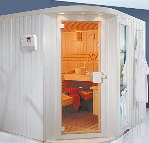 Wille Alpina Sauna 220 x 220 cm Hemlock weiss mit Eckeinstieg komplett
