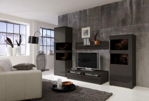 Wohnwand Anbauwand Grau, Fronten Hochglanz, optional LED-Beleuchtung