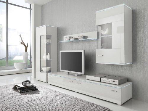 Wohnwand Anbauwand weiß, Fronten hochglanz, optional LED-Beleuchtung