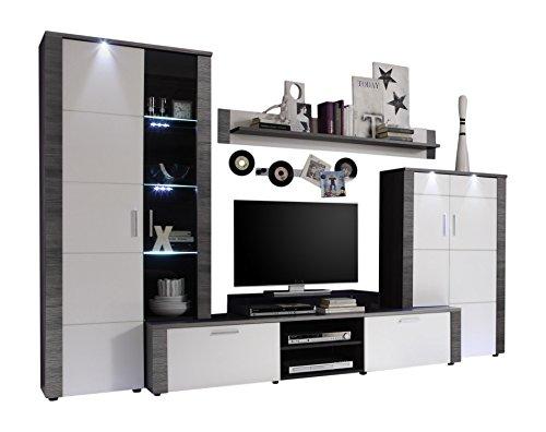 Wohnzimmer Wohnwand weiß Esche grau Anbauwand Schrankwand TV Schrank Vitrine