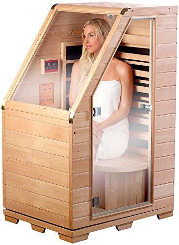 newgen medicals Sauna: Kompakte Infrarot-Sitzsauna aus Hemlock-Holz, 760W, benötigt 0,62 m² (Sitzsauna für Zuhause)