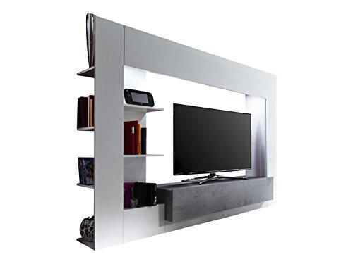 trendteam HY00135 Wohnwand TV Möbel Weiß, Absetzungen Beton Industry Nachbildung, Stellmaß BxHxT 209 x 156 x 42 cm