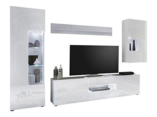 trendteam LW97201 Wohnwand Wohnkombination Weiß Hochglanz Lack, Stellmaß BxHxT 307 x 194 x 42 cm