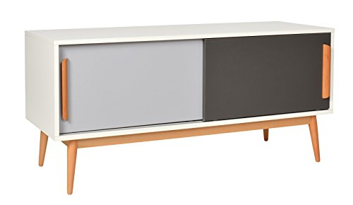ts ideen sideboard kommode lowboard tv bank weiss grau dunkelgrau 120 x 55 cm m bel24. Black Bedroom Furniture Sets. Home Design Ideas