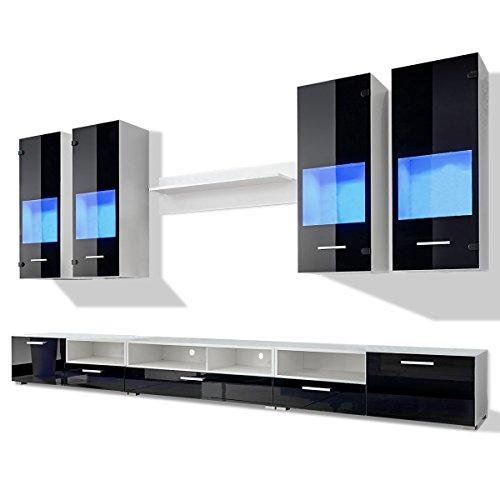 vidaXL 8tlg. Hochglanz Wohnwand Anbauwand TV Board Schrankwand Mediawand LED-Licht blau