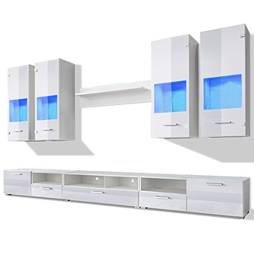 vidaXL 8tlg. Hochglanz Wohnwand Anbauwand TV Board Mediawand Schrankwand LED-Licht blau