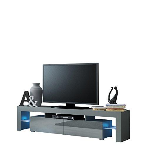 tv schrank solo unterschrank mit led fernsehschrank tv lowboard mit grifflose ffnen hochglanz. Black Bedroom Furniture Sets. Home Design Ideas
