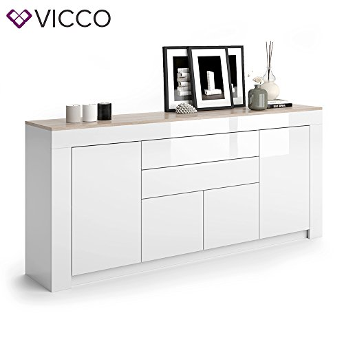 vicco sideboard milan in wei hochglanz 190 cm kommode schrank anrichte diele flur highboard. Black Bedroom Furniture Sets. Home Design Ideas