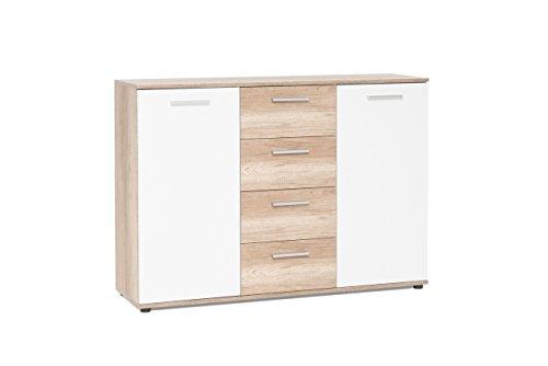 Kommode, Sideboard, Anrichte, Highboard, Schrank, Flurkommode, Schlafzimmerkommode, weiß, weiss, Wildeiche, 2-türig, Maße: B/H/T ca. 120/85/35 cm