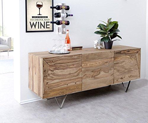 Kommode Wyatt Sheesham Natur 175 cm 3 Türen Massivholz Edelstahl Sideboard