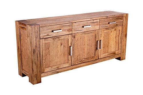 Mein Möbel Wildeiche SII Balken-/Massivholz Sideboard 175 x 78 x 44 cm im klassischen Design, Wild-Spalteiche massiv, gewachst / geölt