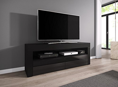tv element tv schrank tv st nder entertainment lowboard luna 140 cm k rper schwarz matt. Black Bedroom Furniture Sets. Home Design Ideas