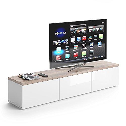VICCO TV Lowboard Panarai 165cm Weiß - Fernsehtisch Sideboard Weiss Board Schrank Regal Fernsehschrank