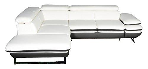 Cotta C733896 D200 D208 Polsterecke Lederimitat, weiß / grau, 223 x 265 x 74 cm
