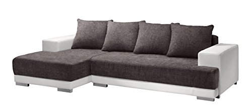 Cotta M592432 F180 D200 Polsterecke mit Schlaffunktion, Kunstleder weiß mit Strukturstoff braun, 150 x 251 cm