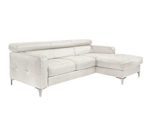 Cotta Y363562 H350 Polsterecke in weichem Kunstleder mit Bettfunktion und Bettkasten, 226 x 169 cm, weiß, Recamiere rechts mit chromfarbenen Fuss