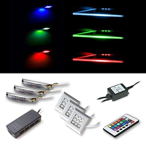 LED RGB Beleuchtungsset bestehend aus 3 RGB-Glaskantenbeleuchtungen und 3 Unterbaustrahler