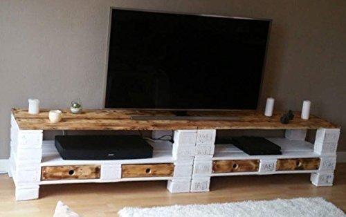 Palettenmöbel ~ Sideboard ~ Massivholzpaletten ~ geflammt / weiß lasiert ~ Einweg- oder Europaletten