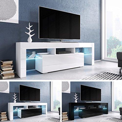 TV Board 'Soro' Hochglanz Lowboard Cube Matt Hifi Fernseherschrank mit LED