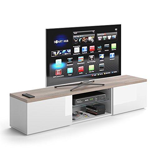VICCO TV Lowboard Zenith 165cm Weiß - Fernsehtisch Sideboard Weiss Board Schrank Regal Fernsehschrank