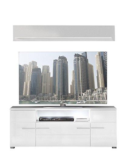 trendteam tv m bel lowboard wei hochglanz wandboard wei matt m bel24. Black Bedroom Furniture Sets. Home Design Ideas