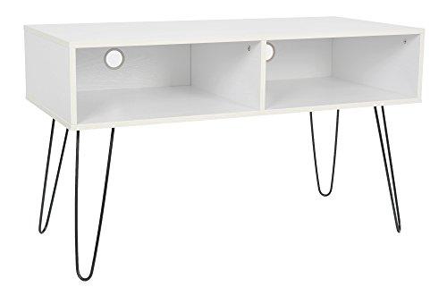 ts-ideen Design TV-Bank Hifi Board Schrank Lowboard Fernsehtisch Holzoptik in weiss 107 x 63 cm