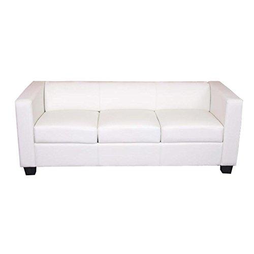 3er Sofa Couch Loungesofa Lille ~ Kunstleder, weiß