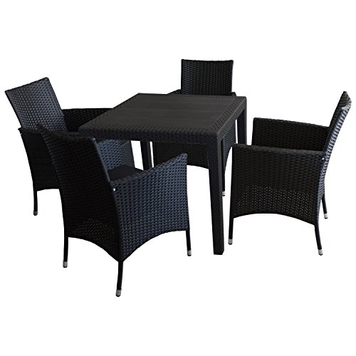5tlg sitzgarnitur gartenm bel balkonm bel bistro set gartentisch kunststoff rattan look. Black Bedroom Furniture Sets. Home Design Ideas
