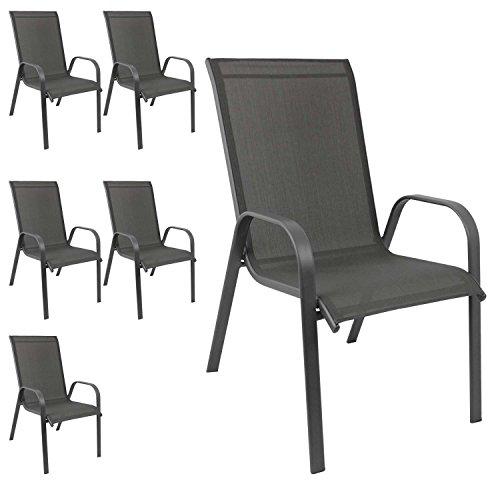 6er Set Gartenstuhl stapelbar Gartensessel Stapelstuhl Stapelsessel Stahlgestell pulverbeschichtet mit Textilenbespannung Anthrazit