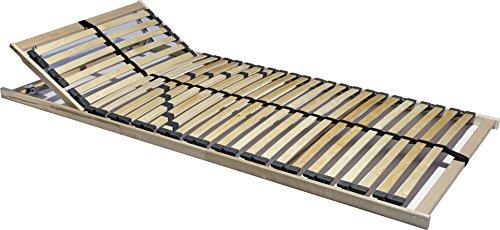 7 Zonen Lattenrost 90cm x 200cm ODER 140cm x 200cm, 28 Leisten, Härte- und Kopfteil verstellbar mit Mittelgurt, 180 kg