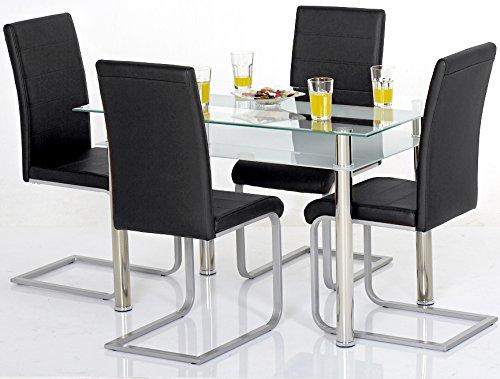 Agionda ® Esstisch Kay mit Stuhlset Jan Piet ® 4er Satz mit hochwertigem PU Kunstleder schwarz
