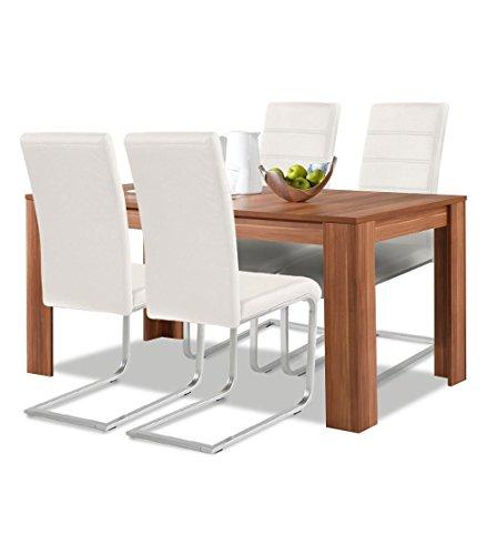 Agionda ® Esstisch Stuhlset : 1 x Esstisch Toledo Nussbaum 120 x 80 + 4 Freischwinger weiss