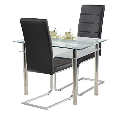 Agionda ® Esstisch Turin + Stuhlset Jan Piet ® 2er Satz hochwertiges PU Kunstleder in schwarz