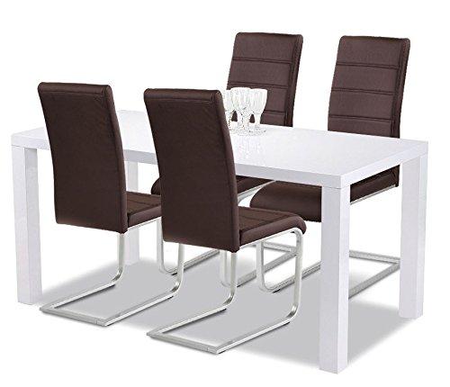 Agionda Esstisch + Stuhlset : 1 x Esstisch Göteborg 140 Hochglanz weiss + 4 Freischwinger braun