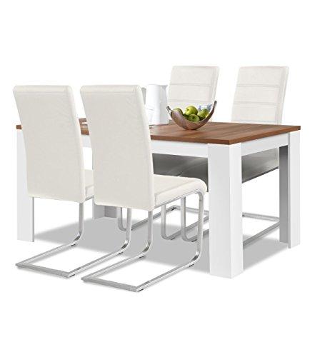 Agionda® Esstisch + Stuhlset : 1 x Esstisch Toledo Nussbaum Weiss 140 x 80 + 4 Freischwinger weiss