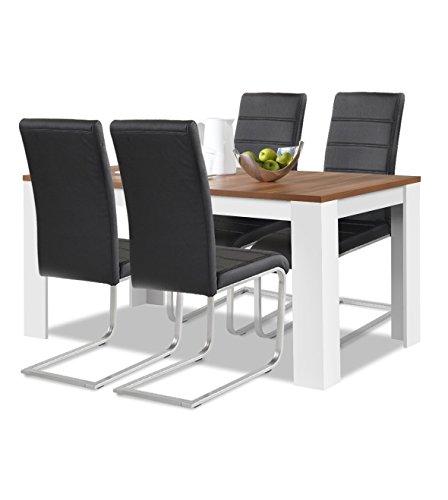 Agionda® Esstisch + Stuhlset : 1 x Esstisch Toledo Nussbaum und Weiss 140 x 90 + 4 Freischwinger JAN PIET PU Kunstleder schwarz