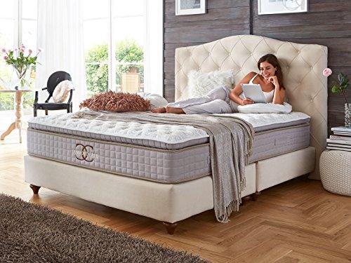 Boxspringbett Jersey altweiß Velour Hotelbett Doppelbett Taschenfederkern-Matratze Comfort-Care Topper Modern Luxusbett