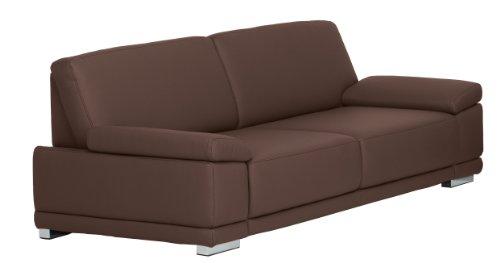 Cavadore Sofa Corianne in Kunstleder / Große Ledercouch in hochwertigem Kunstleder und modernem Design / Mit verstellbaren Armlehnen