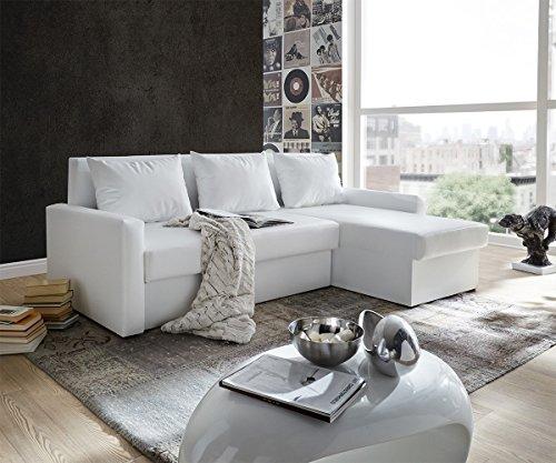 Couch Avondi Weiss 225x145 cm Schlaffunktion Ottomane variabel