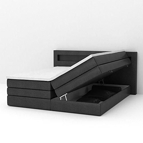 Design Boxspringbett LED Doppelbett Bett Hotelbett Ehebett 180x200 cm schwarz