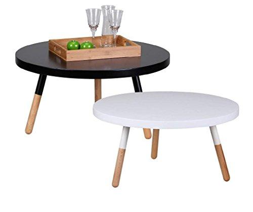 Design Couchtisch SKANDI 80 x 80 x 40 cm Form Rund Skandinavischer Retro Look | Matt Lackierter Wohnzimmertisch mit Holz-Gestell | Wohnzimmer Möbel Tisch | Farbe: Weiß