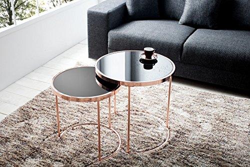 DuNord Design Beistelltisch Couchtisch 2er Set CANNES kupfer/schwarz Art Deco Design Glastisch