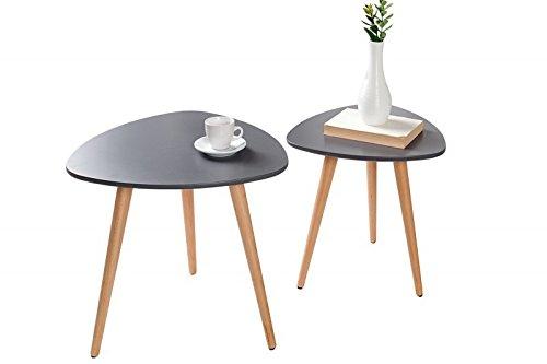 DuNord Design Beistelltisch Couchtisch 2er Set STOCKHOLM graphit Retro Design Nierenform Tisch