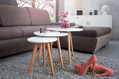 DuNord Design Beistelltisch Couchtisch 3er Set STOCKHOLM weiss Buche 70er Retro Design Tisch