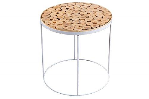 DuNord Design Beistelltisch Couchtisch MANADO 40cm Kiefer massiv Glas Retro Design Glastisch