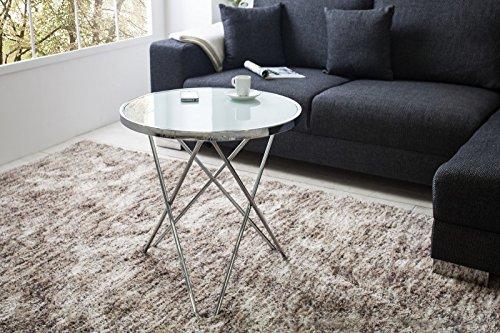 DuNord Design Beistelltisch Couchtisch PARIS 55cm Art Deco Design Glas chrom/weiss Retro Tisch