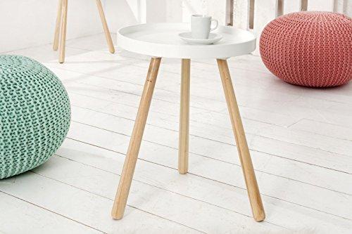 DuNord Design Beistelltisch Couchtisch STOCKHOLM 35cm weiß Pinienholz Massiv 70er Design Tisch