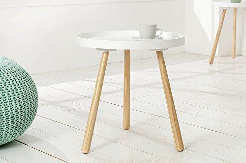 DuNord Design Beistelltisch Couchtisch STOCKHOLM 40cm weiß Pinienholz Massiv 70er Design Tisch